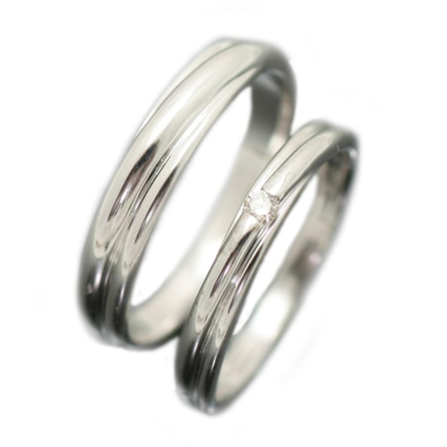 逆幽霊警察署[ココカル]cococaru ペアリング K10 ホワイトゴールド リング マリッジリング 2本セット 結婚指輪 レディース ダイヤ付き 日本製