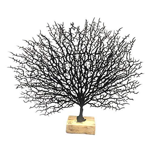 MagiDeal Estatuilla de Rama de árbol de Coral con Base de Resina decoración de Coral Marino Ornamentos para la Oficina en casa - Negro