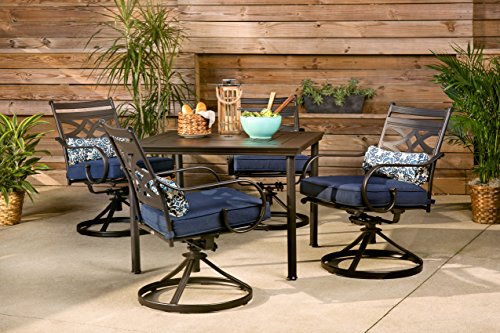 Hanover MCLRDN5PCSQSW4-NVY Montclair 5-Piece Patio Dining Set in Navy Blue with 4 Swivel Rockers and a 40-Inch Square Table Outdoor Furniture