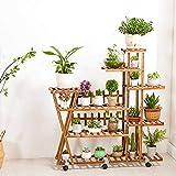 DHR Support de fleurs en bois massif, Plante fleurie, Multi-couche, Intérieur, Salon, Balcon, Plancher, Support à pots, En bois, Support de fleurs pour sol Étagère de rangement (Style : Wheeled)