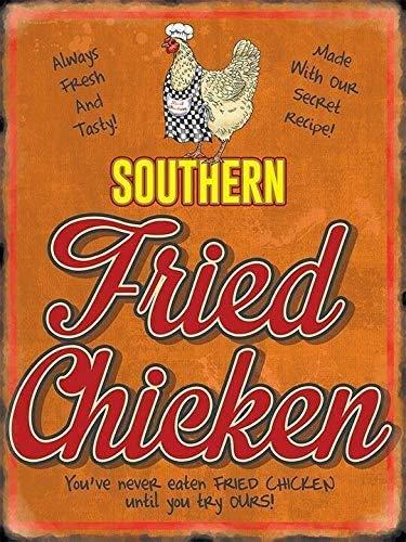 Blechschild, 20,3 x 30,5 cm, Southern Fried Chicken – Cafe Carry Out Chippy KFC Kunstschild Home Wll Decor für Kaffee, Bar, Zimmer, Vintage Decor