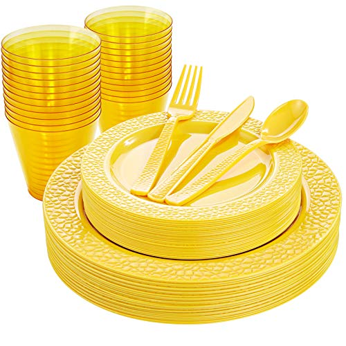 Nervure 150pcs Yellow Plastic Plates with Yellow Hammered Silverware include 25Dinner Plates 25Dessert Plates 25Knives 25Forks 25Spoons 25Cups for Spring Picnic Parties