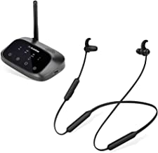 Avantree Oasis Plus & NB16, Bluetooth 5.0 Transmitter & Wireless Neckband Earbuds for TV & PC Audio Watching, Support TV D...