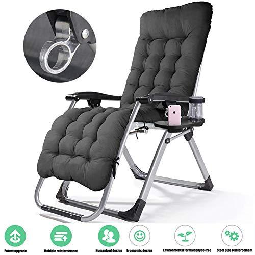Hzlsy Ligstoel met bekerhouder, verstelbare rugleuning, afneembare hoofdkussen, hoofdkussen, tuinligstoel, hoge rugleuning