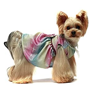 Fitwarm Bling Bling Dog Dress Birthday Party Costumes Dog Clothes Rainbow Pet Cat Apparel Small