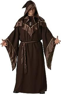 XLARGE ADULTS MENS WIZARD MYSTIC SORCERER HOODED ROBE BLACK HALLOWEEN COSTUME