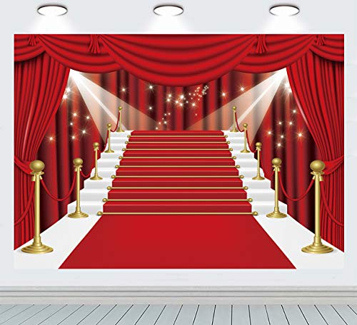 INRUI Cortina roja escenario fotografía fondo Hollywood cumpleaños telón de fondo rojo alfombra película roja cortina estrellas celebridad fiesta decoración fondo