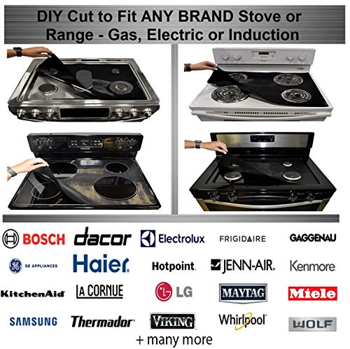 Stove Wrap - New - Stove Top Protector Splatter Guard Kit - Fits Electric Gas Induction Compatible with Samsung GE Whirlpool LG Frigidaire KitchenAid and more, Bonus Oven Liner Included