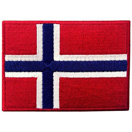 Bandiera della Norvegia Emblema Norvegese Termoadesiva Cucibile Ricamata Toppa