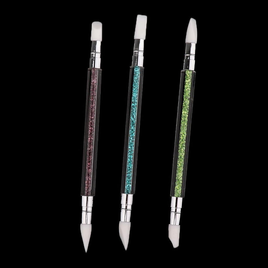 DYNWAVE 3本セット ネイルアート ブラシ 爪用ペン ドットツール クラフト 2way 爪絵画ツール シリコン - 3本セット