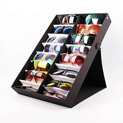 Estuche de exhibición de gafas sol, caja de almacenamiento gafas de 16 ranuras, caja almacenamiento de exhibición con función de soporte, adecuado para el marco gafas sol reloj joyería para el hogar
