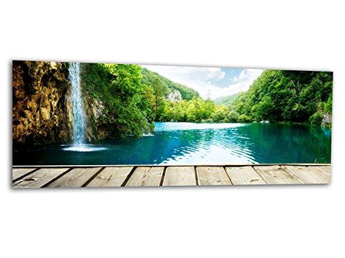 Glasbilder Echtglas Wandbilder Foto auf Glas Wasserfall Wald 125 x 50cm AG312502141 / Deco Glass, Design & Handmade/Eyecatcher, Kunstdruck!