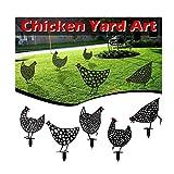 Statua da giardino, in metallo, motivo: animali e galline per esterni, decorazione da giardino in stile bohémien, in metallo, per il 2021, con un bel significato (5 pezzi)
