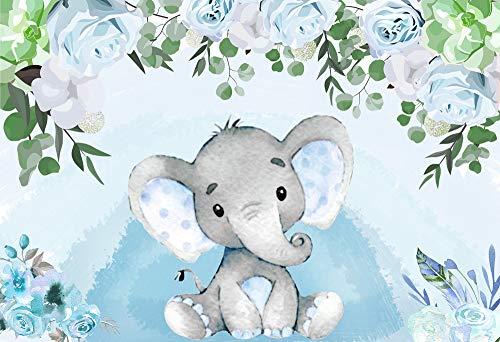 Baby Shower Fondo Fiesta Regalo 6x6ft Bebé Niño Elefante Mesa Postre Fondo Acuarela Azul Floral W-1541
