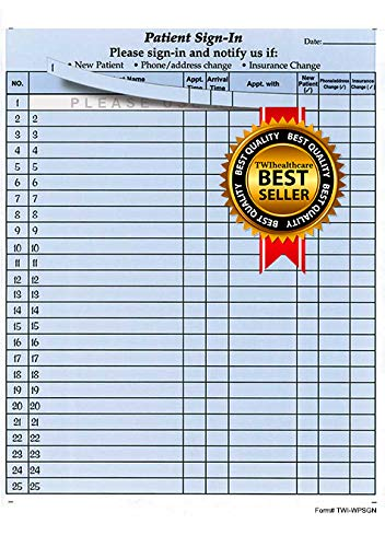 """Patient Sign-in Sheets, 8-1/2"""" X 11"""" (Blue) Carbonless Form (Lot of 250 Sheets) Hipaa Compliant"""
