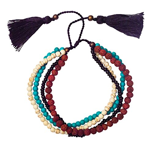 Women's Yoga Tikra Bracelet, Fashion Accessories, Rudraksha, Ceramic and Turquoise Beads, 4 Strand with Black Tassel, 6 cm Adjustable, Spiritual and Trendy