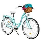 Milord Bikes Bicicletta Comfort Colore del Mare a 3 velocità da 26 Pollici con cestello e Marsupio...