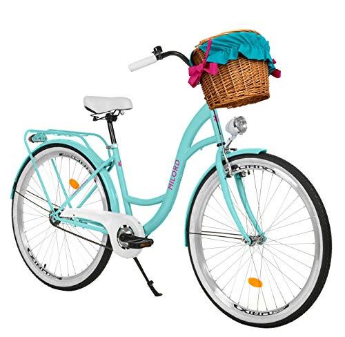 Milord. 28 Zoll 1-Gang Aqua blau Komfort Fahrrad mit Korb und Rückenträger, Hollandrad, Damenfahrrad, Citybike, Cityrad, Retro, Vintage