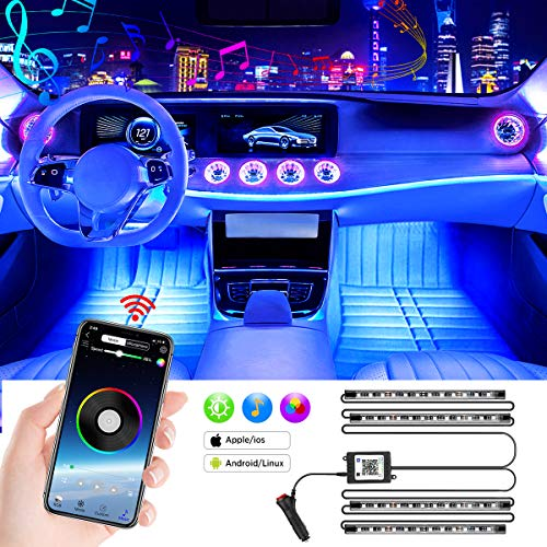 LED Innenbeleuchtung Auto, Mture 4pcs 48 LED Auto Innenraumbeleuchtung Strip mit Zwei-Linien-Design, Auto LED Strip APP Steuerbare Mehrfarbig Musik Auto Innenbeleuchtung, 12V