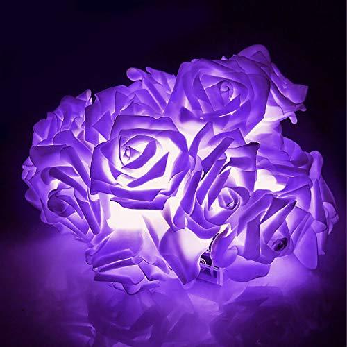 2M 20 LED Battery Operated Rose Flower Fairy String Lights Wedding Room Garden Christmas Decoration (Purple)
