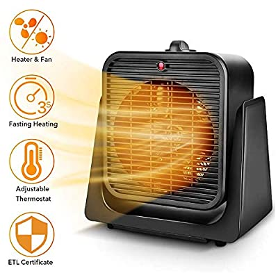 TRUSTECH 2 in 1 Portable Space Heater, Tip Over & Overheat Protection, Heating & Cooling Mode 750W/1500W Personal Small Fan Office Home Black