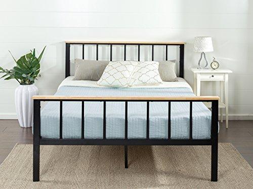 Zinus Brianne Metal and Wood Platform Bed, Queen