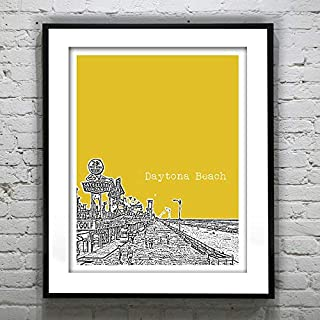 Pulling Daytona Beach Skyline Poster Art Print Florida Vintage 1960s Image