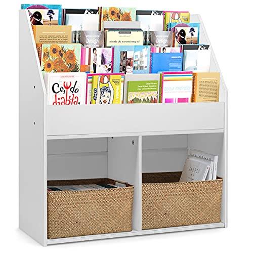 GYMAX. Toys Books Storage Shelf, 3 Tiers Display Rack and 2 Storage Partitions, 3 Tiers Display Rack and 2 Storage Partitions, Kids Wooden Bookcase