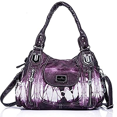 Handbag Hobo Women Handbag Roomy Multiple Pockets Street ladies' Shoulder Bag Fashion PU Tote Satchel Bag for Women (AK812-2Z Purple), Large