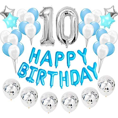 Feelairy 10 año Cumpleaños Globos Decoración Kit Azul, Happy Birthday Banner Globo Carta, Globos de Papel Aluminio Gigante Número 10 y Estrella Globos, Fiesta de Cumpleaños 10 para Niñas y Niños