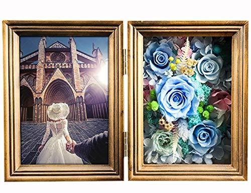 GPWDSN Bilderrahmen mit ewiger Blume, Bilderrahmen Rosa konserviert Rosen für Immer für Valentinstag Muttertag Weihnachten Geburtstag Einweihungsparty