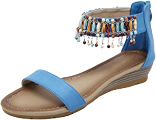 FANIMILA Women Classic Wedge Heels Summer Shoes Ankle Strap Bohemia Sandals