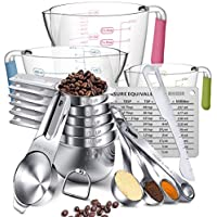 20-Pieces Aikexin Stainless Steel Measuring Cups And Spoons Set