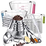 Measuring Cups And Spoons Set,AIKEXIN Stainless Steel 20 Piece Set,7 Measuring Cups & 6 Measuring Spoons & 3 transparent plastic measuring cup, 1 leveler,1 measuring conversion chartand,2 metal ring