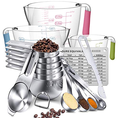 Measuring Cups And Spoons SetAIKEXIN Stainless Steel 20 Piece Set7 Measuring Cups amp 6 Measuring Spoons amp 3 transparent plastic measuring cup 1 leveler1 measuring conversion chartand2 metal ring