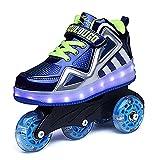 Patines de ruedas High Top Cuatro ruedas Patines de ruedas de fila para niños ajustables Zapatos LED Patines de ruedas luminosos con cuatro ruedas Blue,38