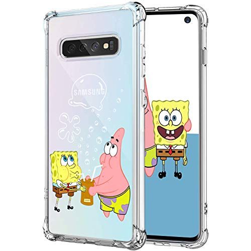 Lupct for Samsung S10 Case, Soft TPU Character Cartoon Cute Mobile Phone Spongebob&Patrick Fashion Design Girls Boys Cover Skin Slim Fit Funny Fun Ultra-Thin Bumper Clear Shell for Samsung Galaxy S10