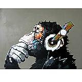 Pintura abstracta del mono por números Imagen de arte de la pared del hogar Pintura por números Pintura de caligrafía 60x75cm