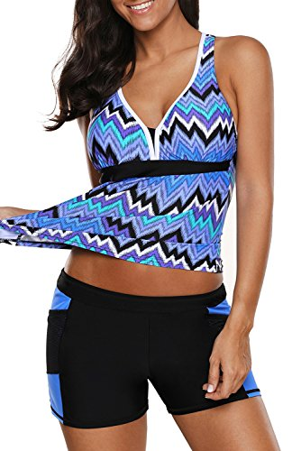 momolove Womens Two Piece V-Neck Tankini Swimsuit with Boardshort Plus Size (Blue, Small)