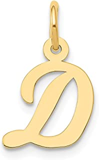 14k Yellow Gold Small Script Initial Monogram Name Letter D Pendant Charm Necklace Fine Jewelry Gifts For Women For Her