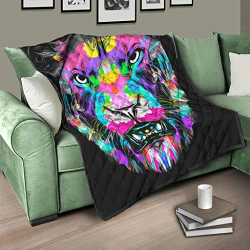 AXGM Quilt Bedspread Colourful Graffiti Tiger Lion Quilt Blanket Cuddly Blanket Microfibre Throw White 230 x 260 cm