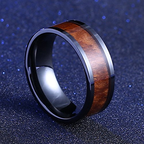 Mecoo Black Ceramic Flat Top Wedding Band Ring with Real Koa Wood Inlay Rings for Men 9mm Comfort Fit (9)