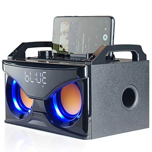 Bluetooth Speaker with Subwoofer, Wooden Wireless...