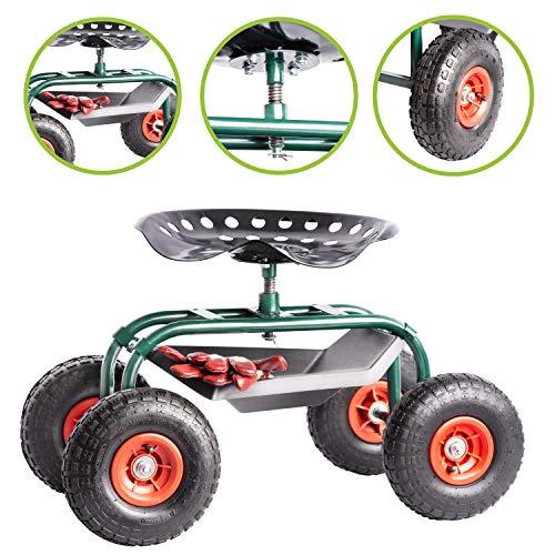 UPP Rollsitz Outdoor Deluxe mit Schutzhülle | Gartenhocker mit verstellbarer Sitzhöhe und Fach für Gartengeräte | Stabiler Rahmen und breite Reifen für hohe Belastbarkeit