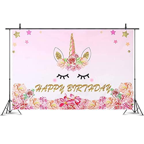 Nesloonp Unicornio Fondo Cumpleaños Decoración de Fiesta, Cumpleaños Pancarta de Fondo Materiales de Fiesta, temática de Unicornio Telón de Fondo de fotografía, Póster de Cartel Grande, (150*100CM)