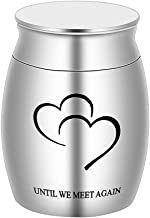 BGAFLOVE Keepsake Urns for Human Ashes Small, Mini Funeral Cremation Urns Adult Stainless Steel Ashes Holder - Until We Me...
