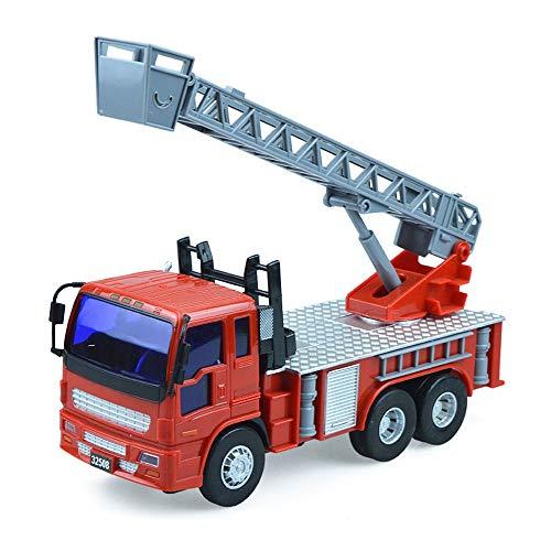 Xolye Modelo de camión de Bomberos inercial de 6 Ruedas Simulación Ingeniería Vehículo de Juguete Niños Niños Juguete al Aire Libre Coche Regalo Levantable Ladder Firetruck Juguete