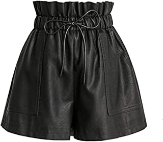 High Waisted Wide Leg Black Faux Leather Shorts for Women