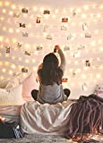 Photo Clip String Lights 33FT 100 LED Fairy String Lights with 50 Clear Clips, 8 Modes USB Powered String Light with Clips Warm White for Bedroom Christmas Party Wedding Decor