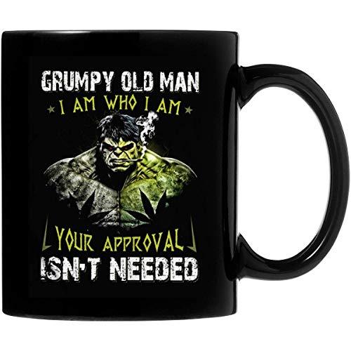 Hulk Grumpy Old Man Soy quien soy Tu aprobación no es necesaria Taza de café de cerámica de 11 oz Regalos personalizados para padres, amantes de la oficina, regalos de San Valentín, ambos lados sensib